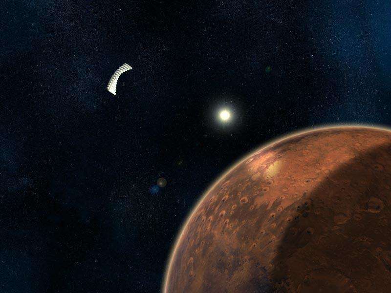 An orbiting array of reflective balloons focuses sunlight onto the surface of Mars, providing extra heat and solar power for human colonists  (Illustration: Rigel Woida)