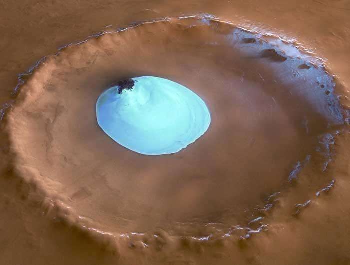 The lake of water ice seen here could be melted to provide liquid water for future Mars astronauts    (Image: ESA/DLR/F U Berlin/G Neukum)