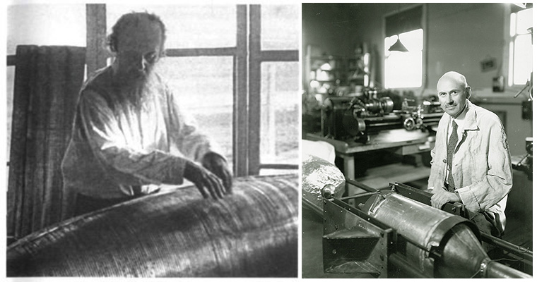Photographs of the two pioneers of rocketry science, Konstantin Tsiolkovsky (left) and Robert Goddard (right).
