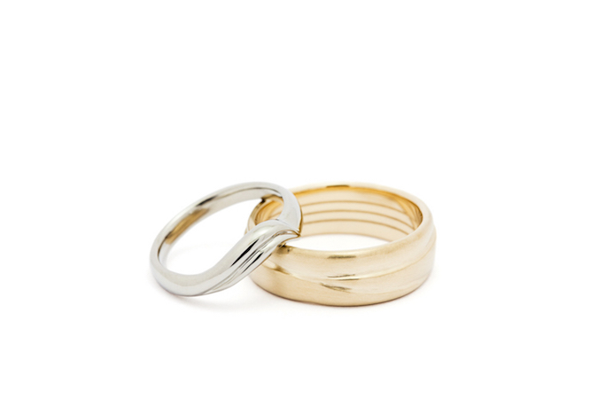 Custom Wedding Bands,          18K White gold & 14K Yellow Gold