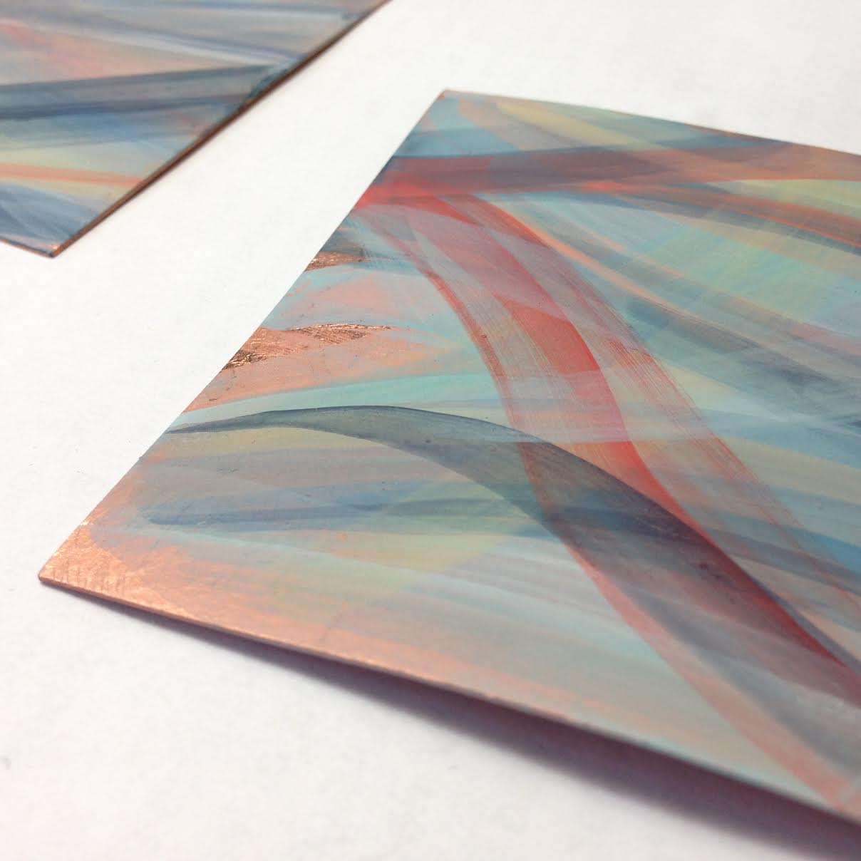 Samples of pigments on copper.