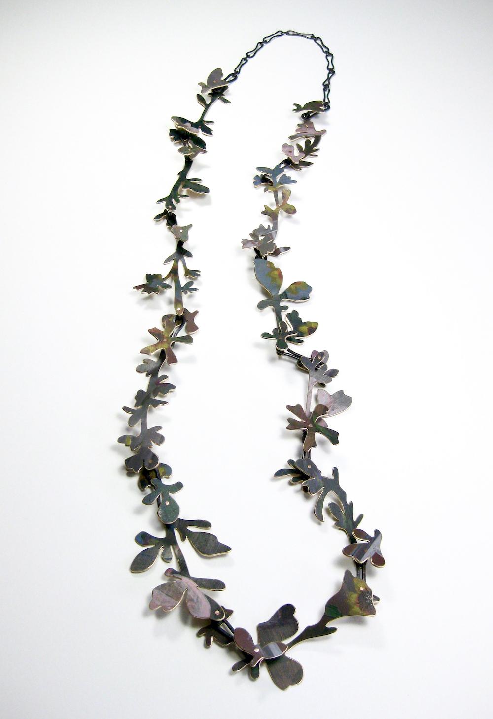 Relics of Childhood  Bronze, copper, paint. Necklace: 40 cm L x 12 cm H x 1 cm H. 2018