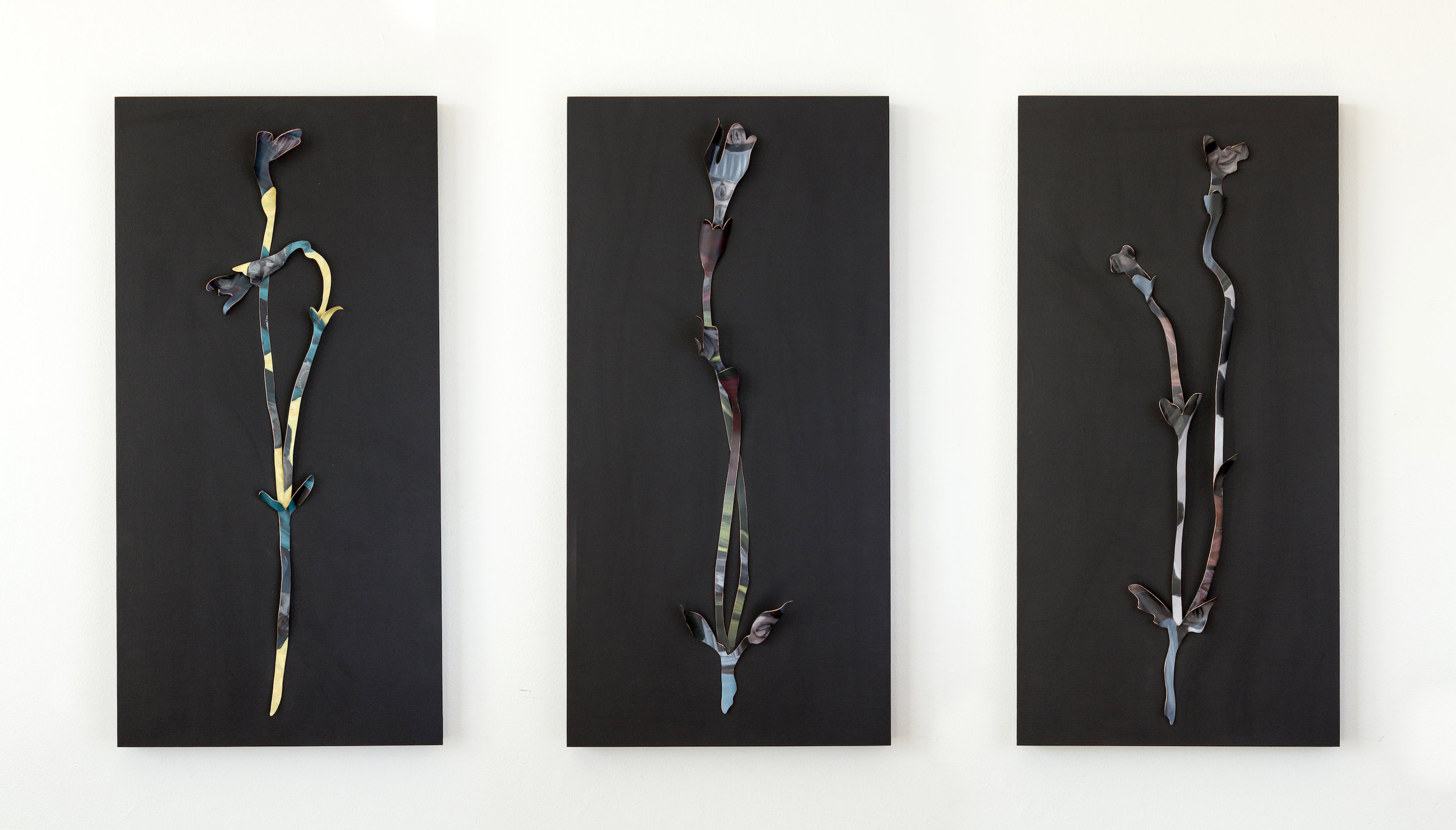 """Ways We Grow   Copper and paint, mounted on three 12"""" x 24"""" wood panels. 2018"""