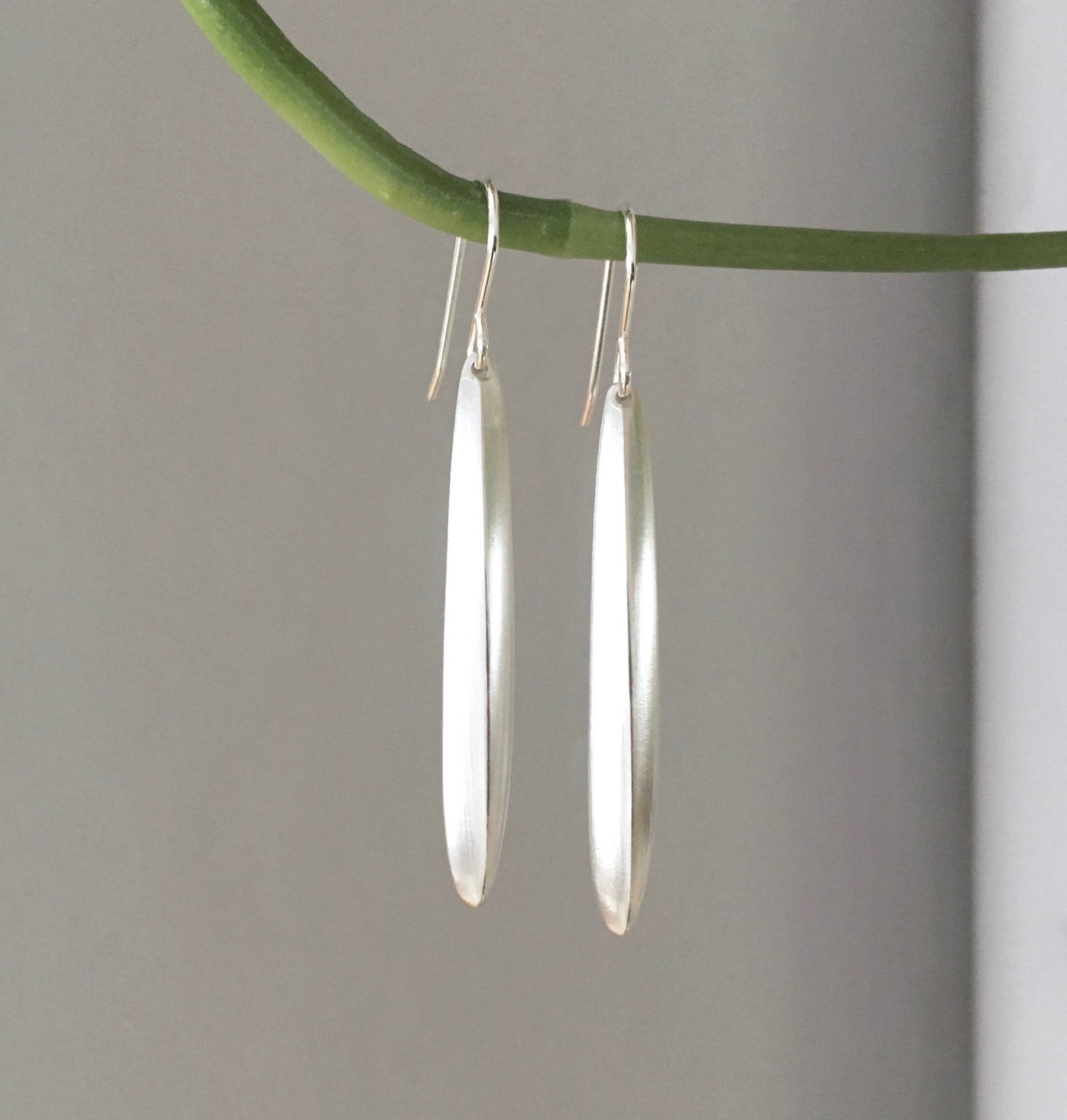Silver palm leaf drop earrings by K. Claire MacDonald