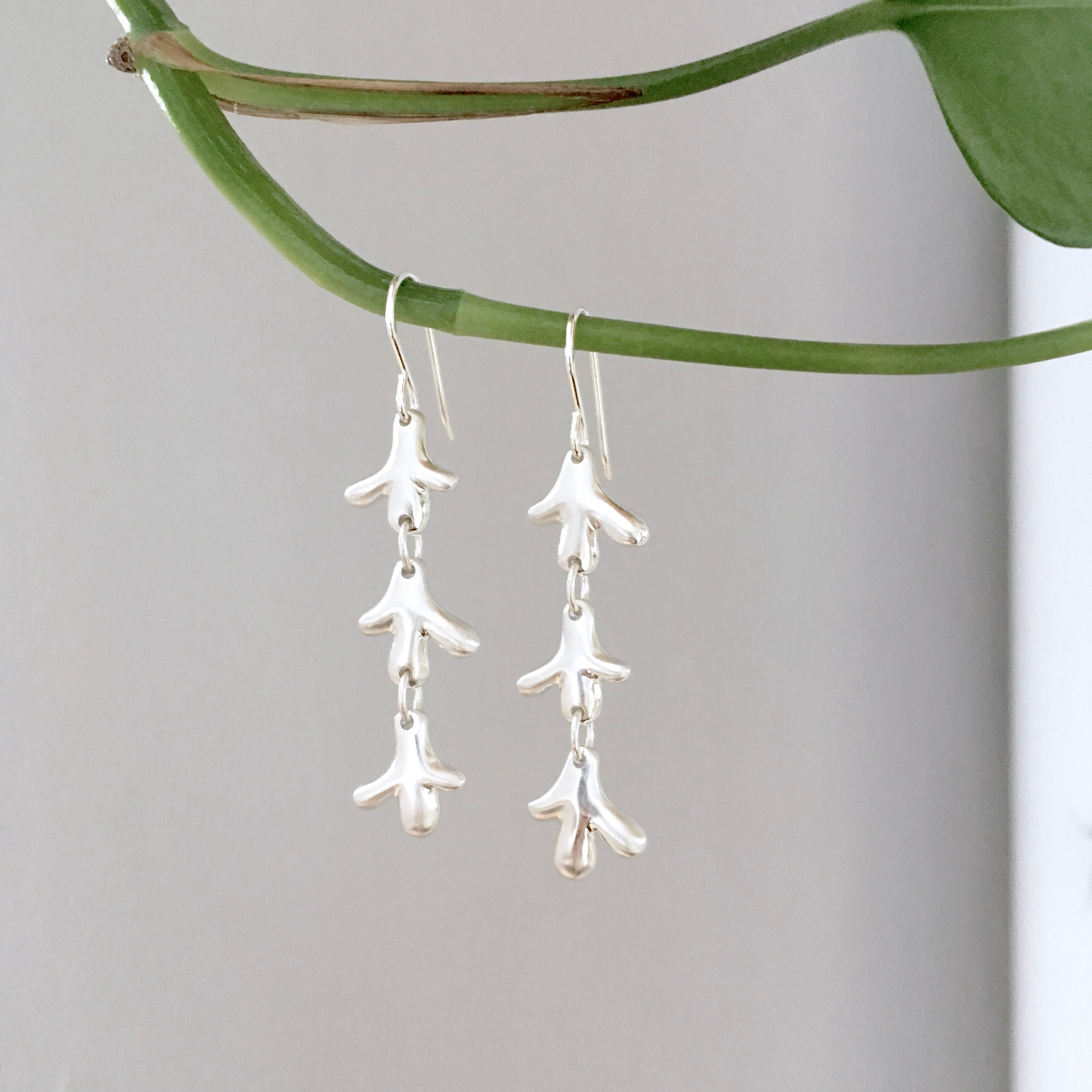 Silver cactus drop earrings by K. Claire MacDonald