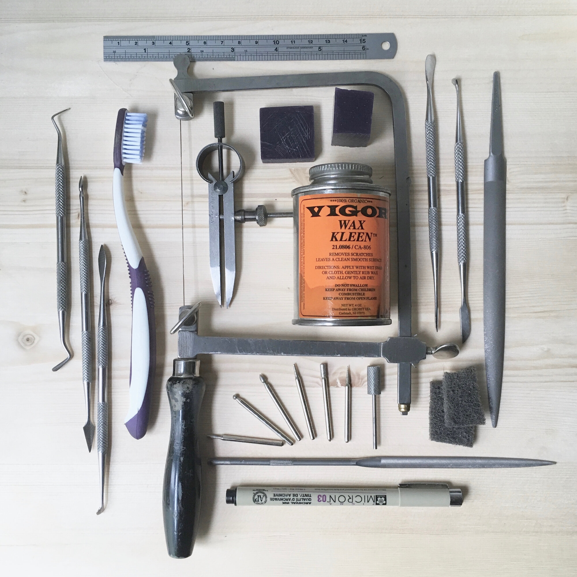A variety of tools used for carving wax models.