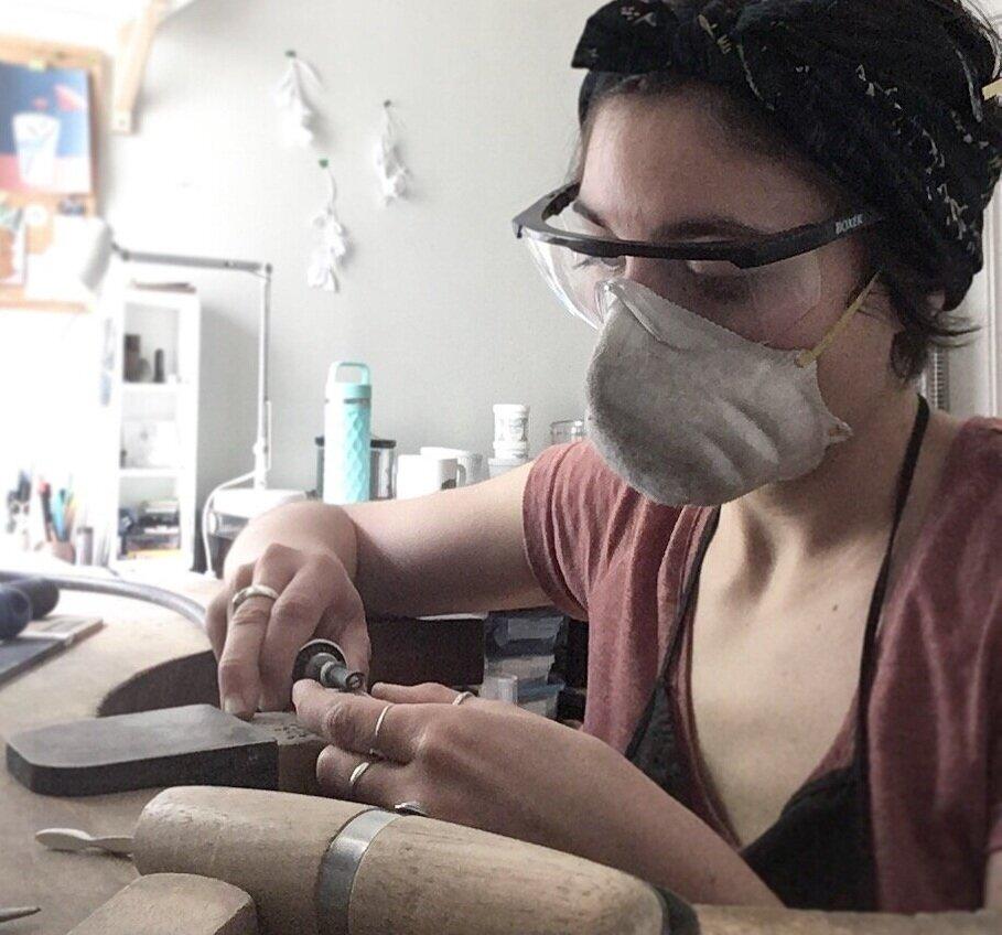 K. Claire MacDonald Jewellery Design & Sculpture in the studio