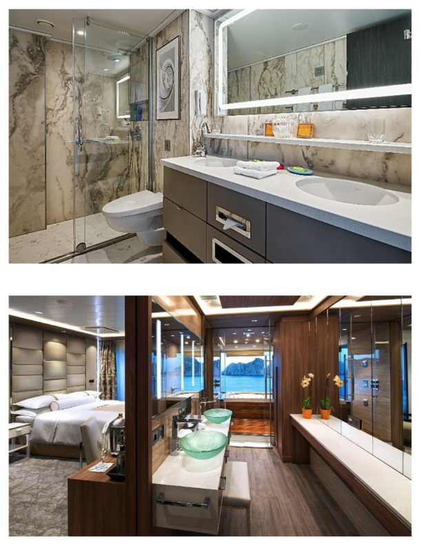 Suites at sea, from top: a  Crystal Bach  River Suite and a Club Spa Suite on the  Azamara Journey.