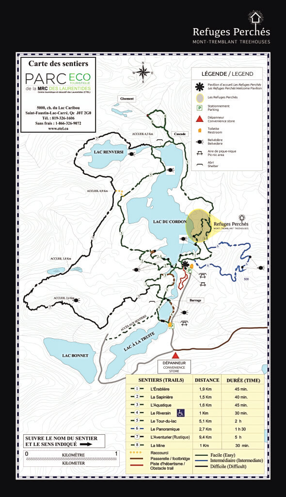 Snowshoe trail map; click to enlarge.