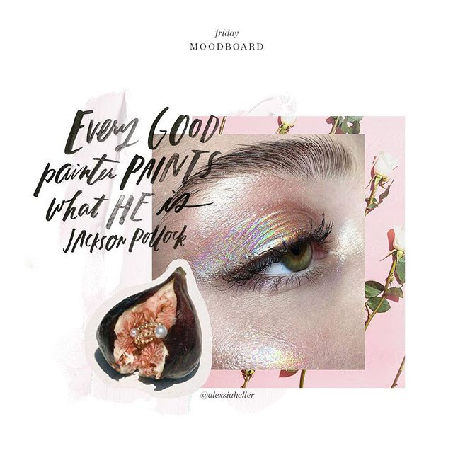Moodboard 〰 Hand lettered typography by @alimakesthings, gold and pearl ring by @lucy_folk, rainbow shimmer eyeshadow and roses on point.