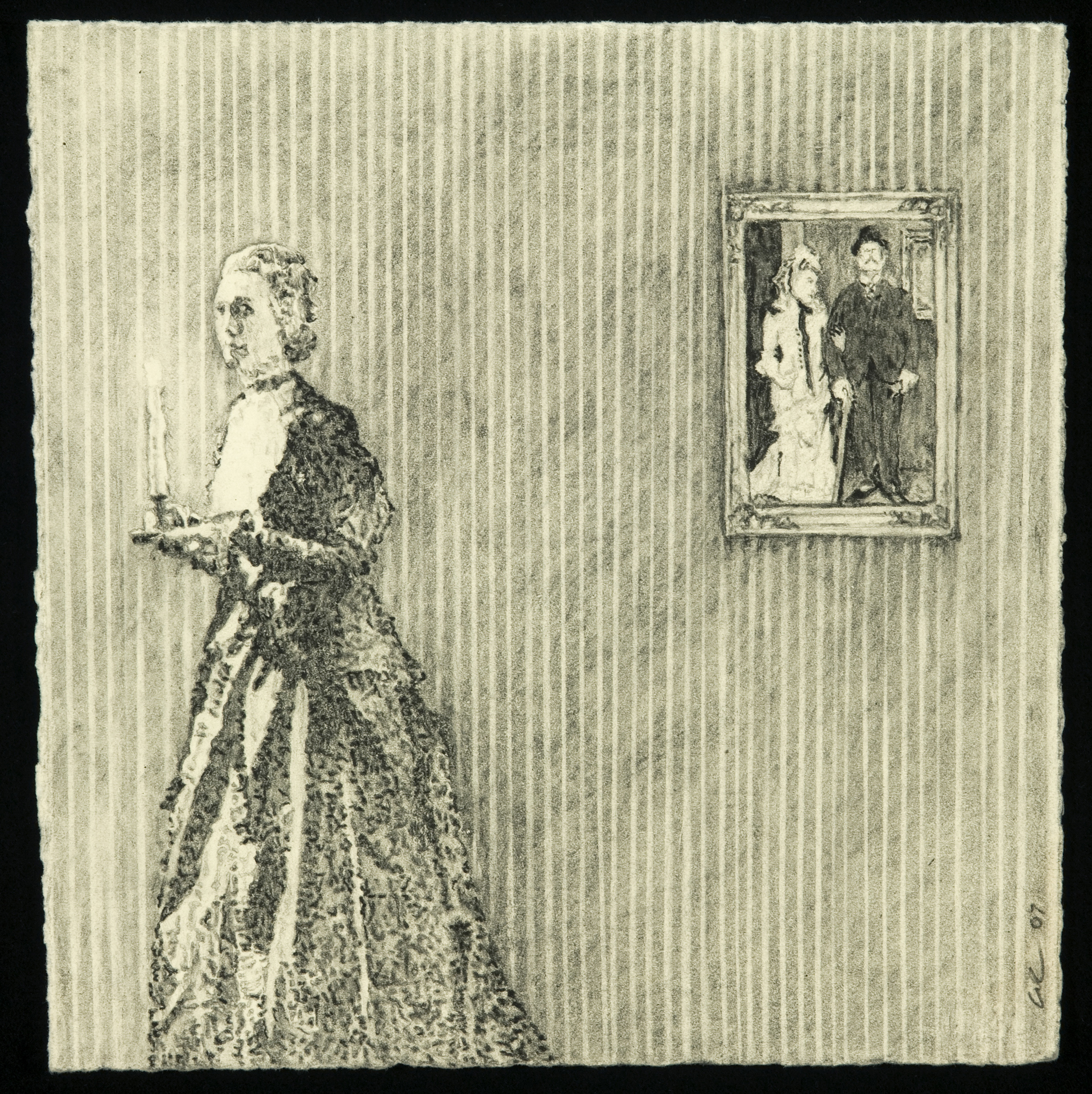 Walking Toward A Window With A Candle In Her Hand