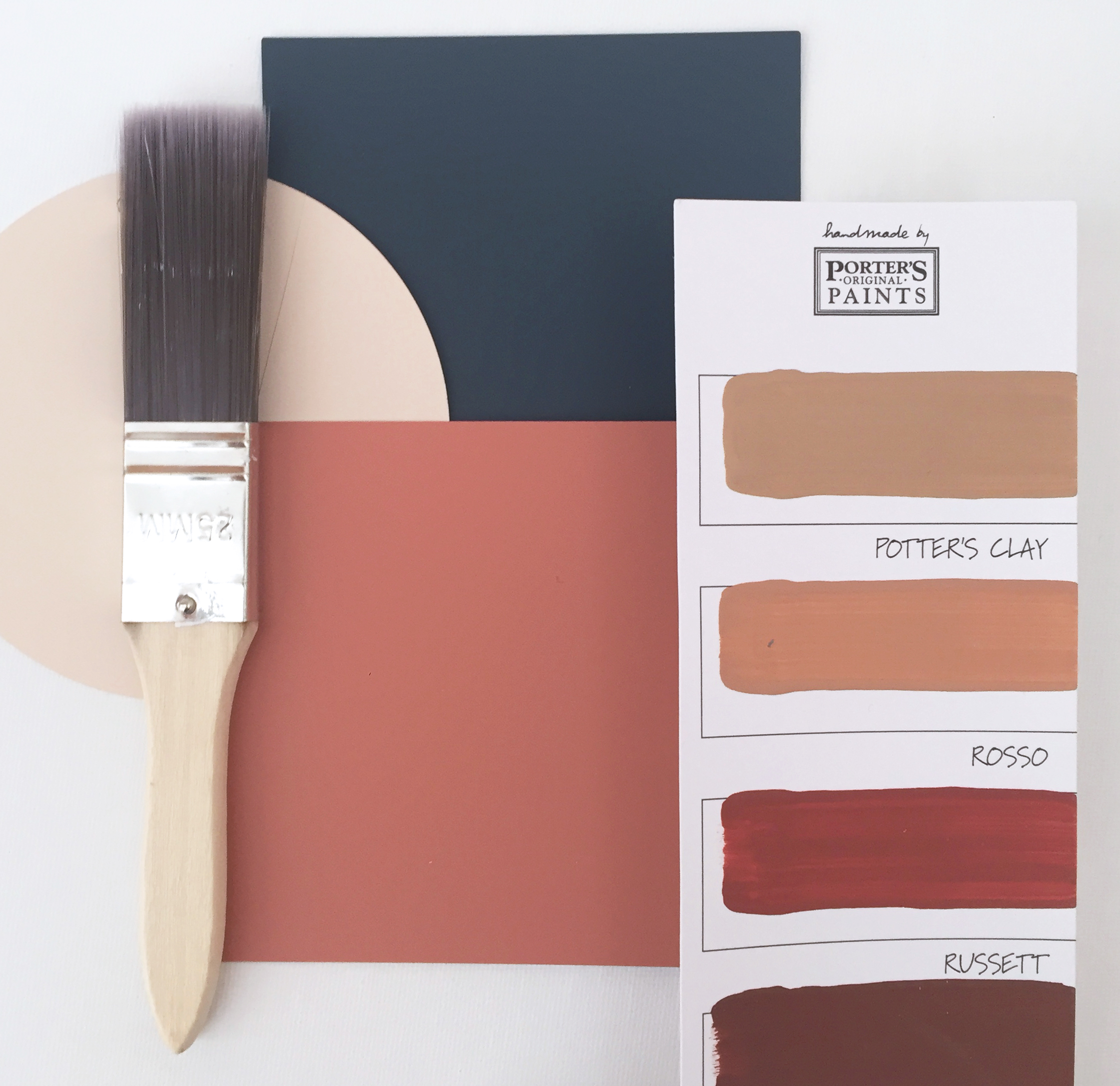 Paint brush with paint swatch samples