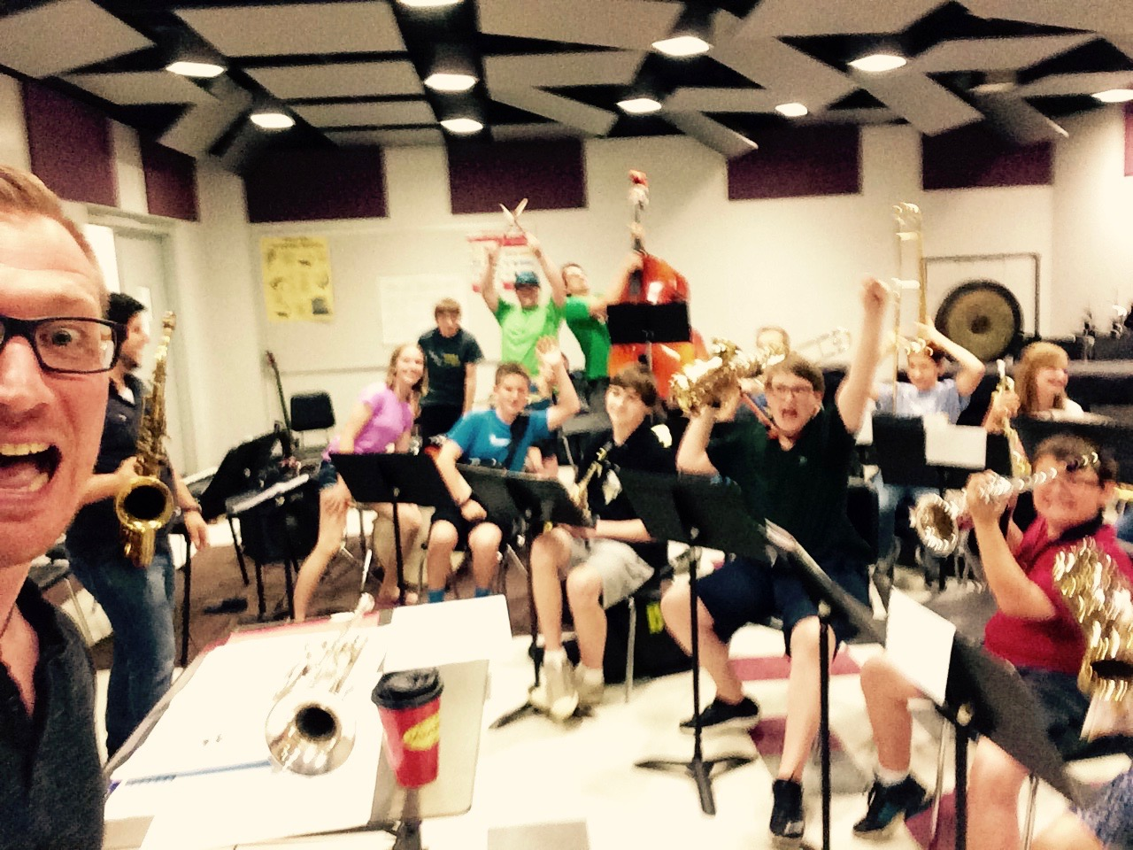 Ok kids, everyone act crazy! A great week with the students of the Kiski summer jazz camp