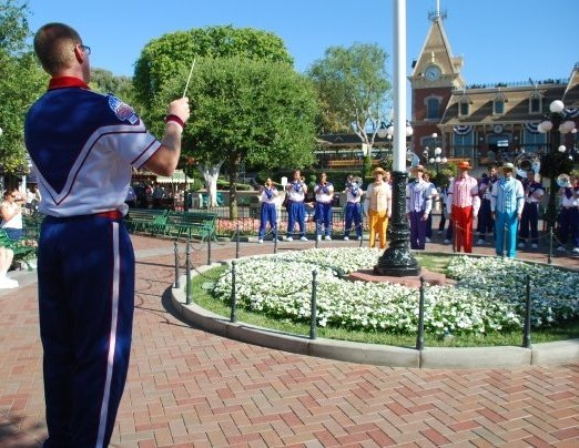 Conducting the flag retreat at Disneyland, as teaching assistant of the All-American College Band