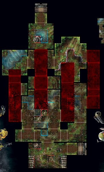 I've highlighted the approaches players can take when moving from their respective deployment zones. The red represents these paths. Ideally, these will make it easier to visualize the sight lines available to your opponent depending on his or her approach.
