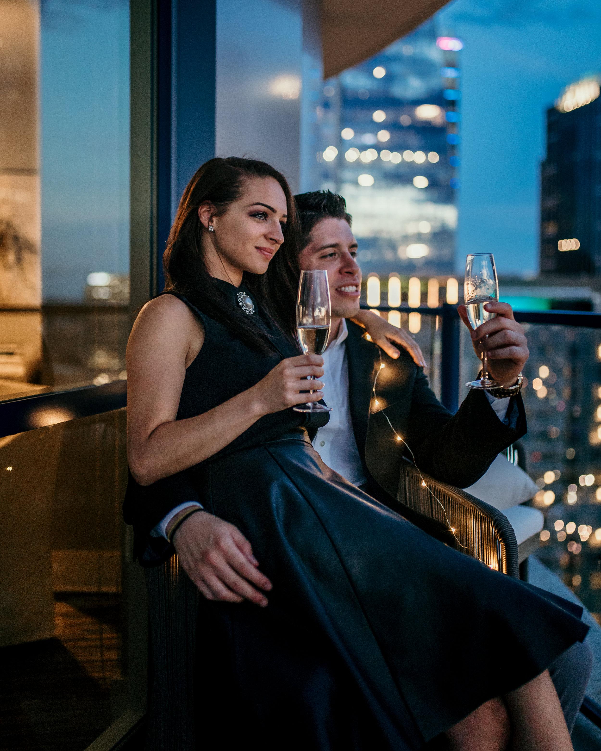 Charlotte Skyline Engagement Photography