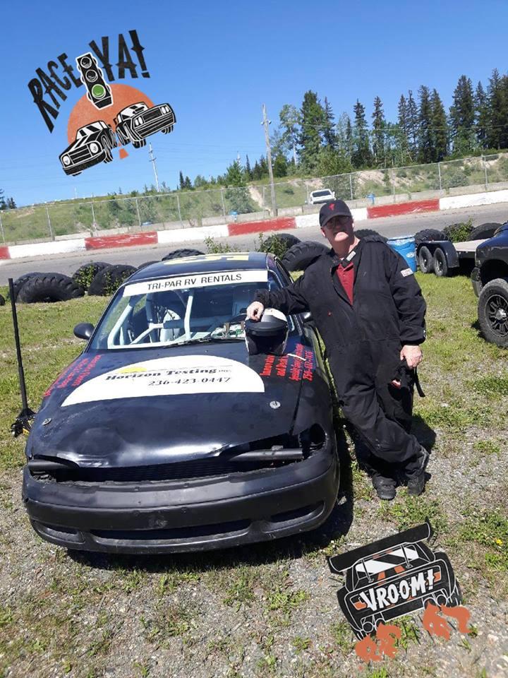 Warren McCann and his race car.