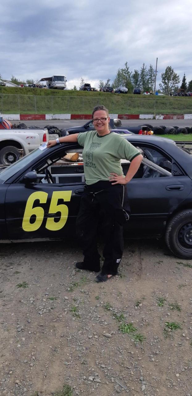 Horizon race car back in action after a major crash. Driver Lori Rysner pictured.