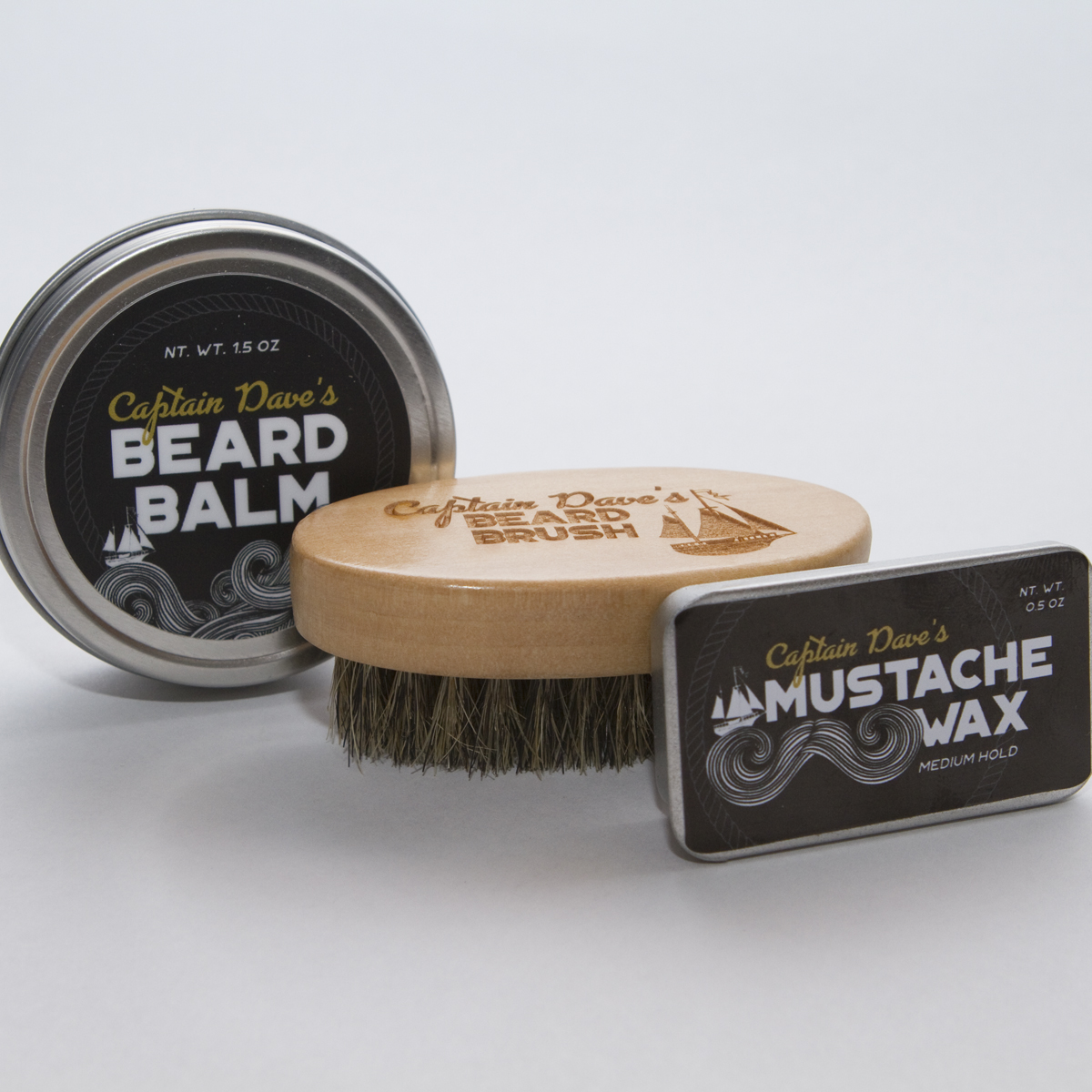 Combo Deals - You can bundle any combination of Captain Dave's Beard Balm, Beard Brush, and Mustache Wax to save money!