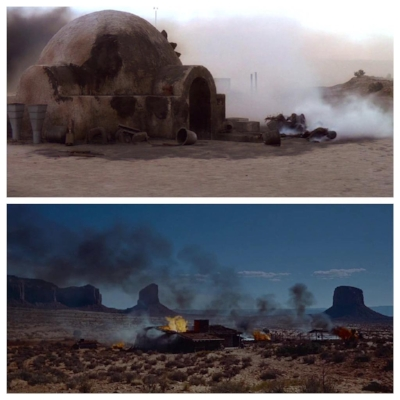 The scene where Luke discovers his aunt and uncle in  Star Wars is an homage to the burning of the farm in  The Searchers .