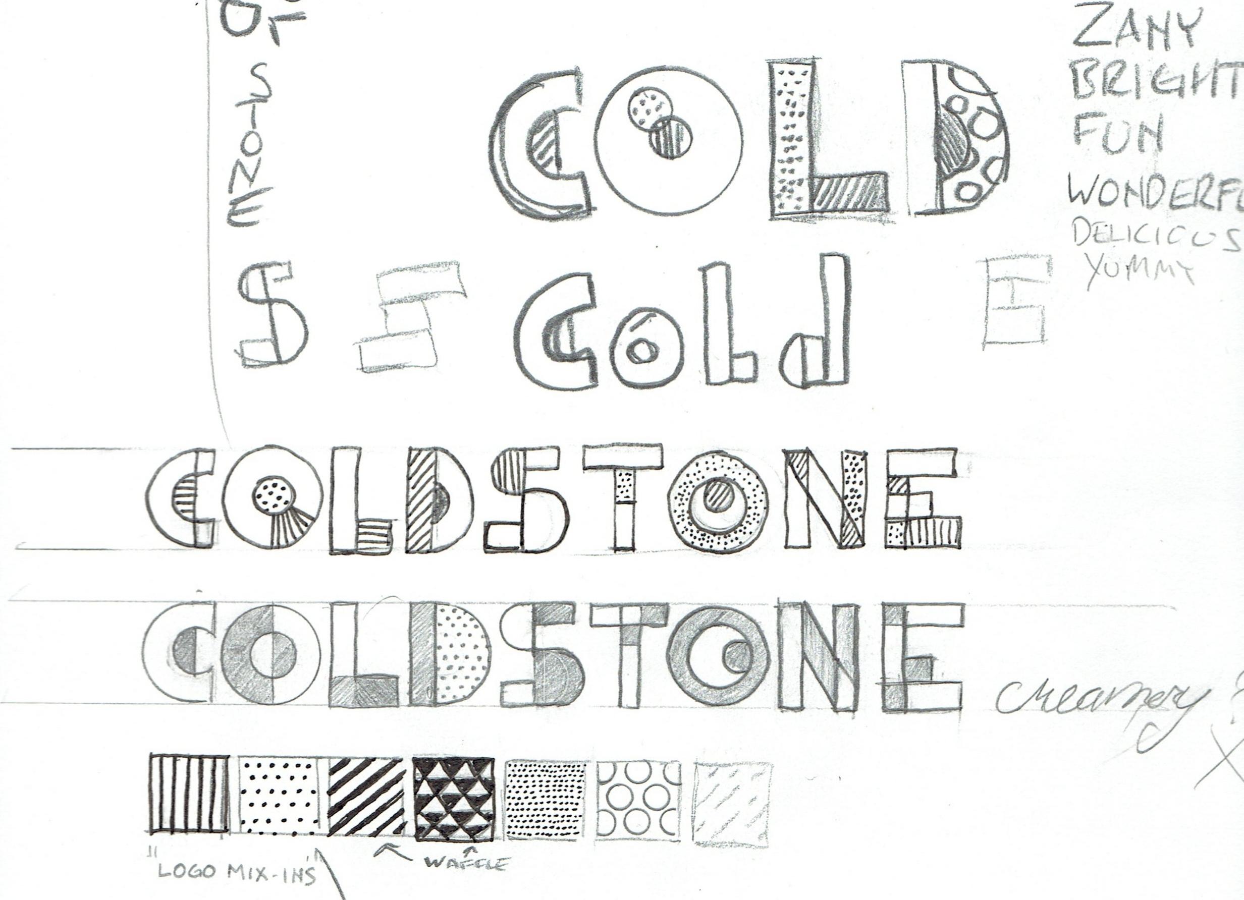 Cold Stone Creamery rebrand process sketches