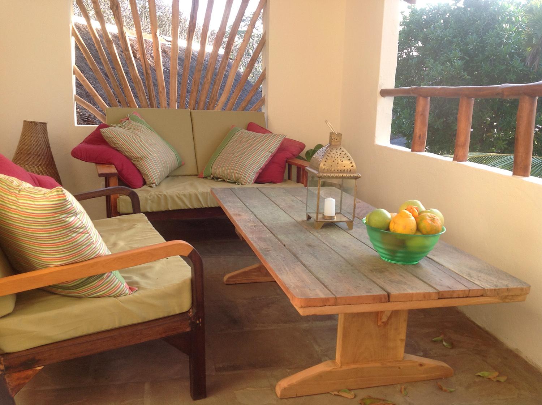 The upstairs verandah at Pweza