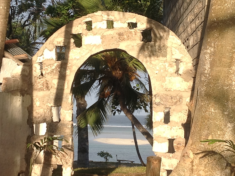 The island through the arch at Pweza