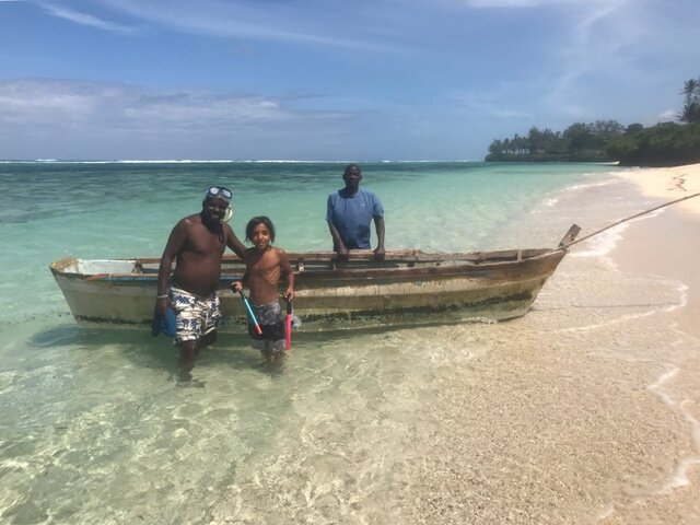 Arun's son Evan post snorkelling trip with Amos and Ahmadi