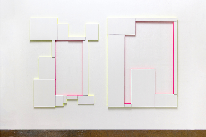 Untitled (Compositions with Canvas and 2 Colours), Gesso and alkyd enamel on canvas  , 160 x 125 cm each, 2016