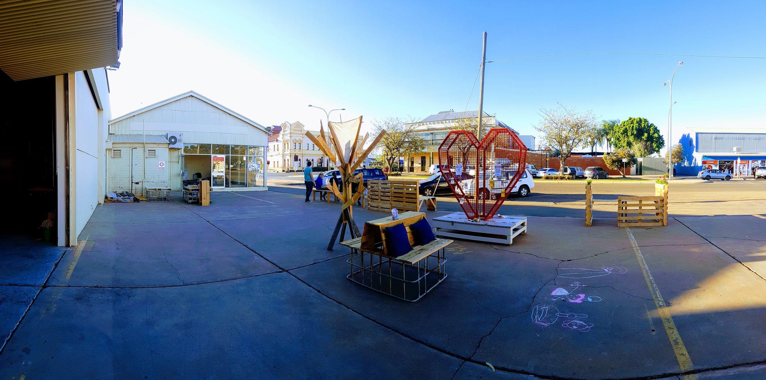 Public furniture in 331's courtyard