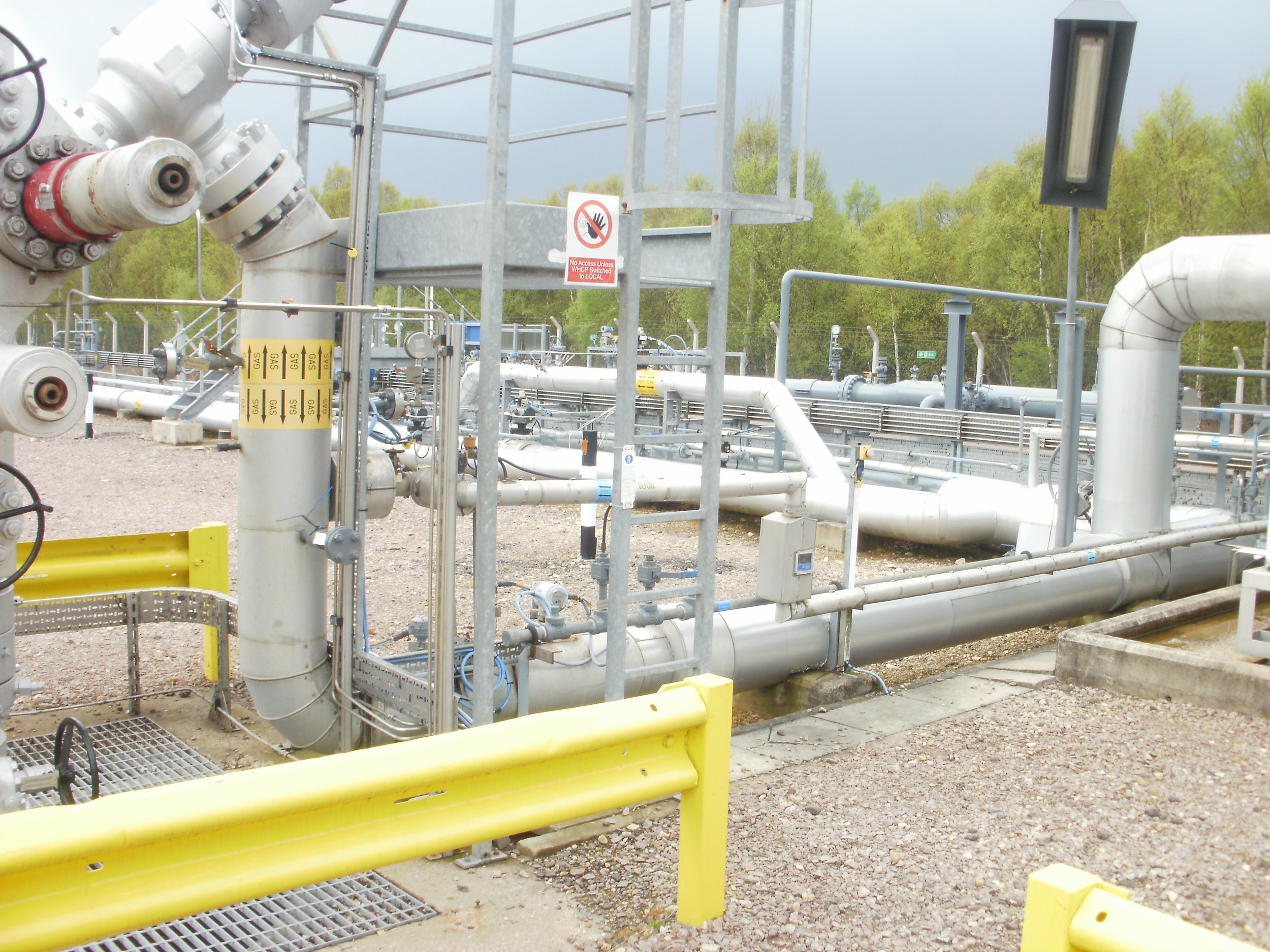 Gas storage site pipe work