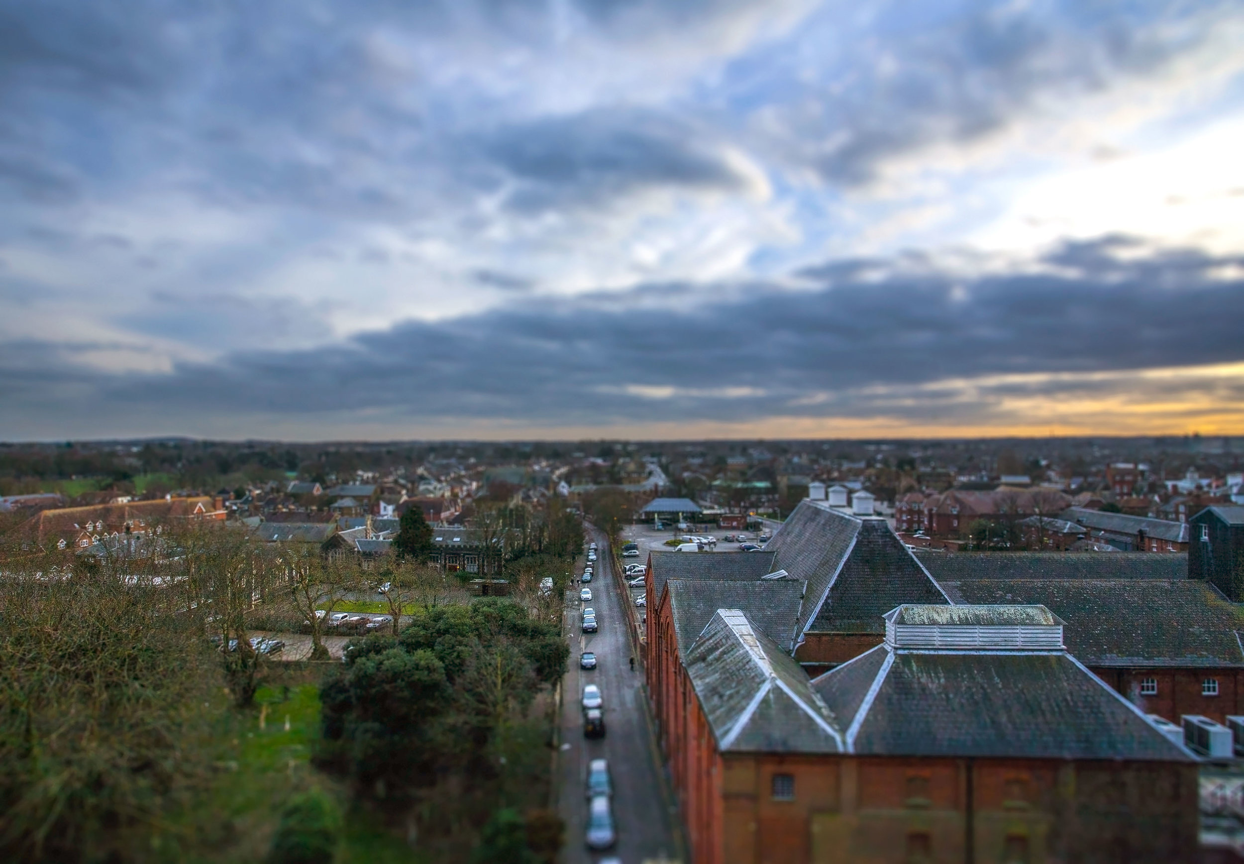 Looking towards the railway station. I've applied a tilt-shift effect to this panorama. I like the way this focuses the eye and draws you in to look at the detail.