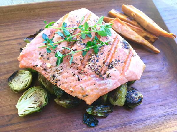 Seared Salmon with Roasted Brussels Sprouts
