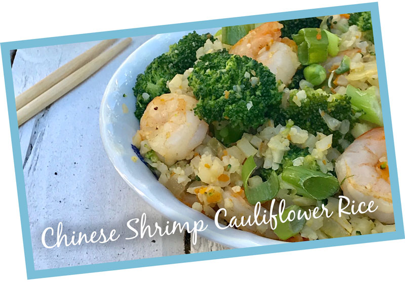 A picture of delicious chinese shrimp cauliflower rice that will support thyroid health