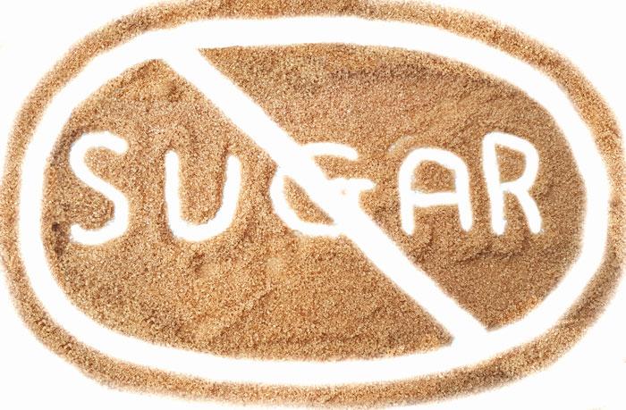no sugar sign written in brown sugar