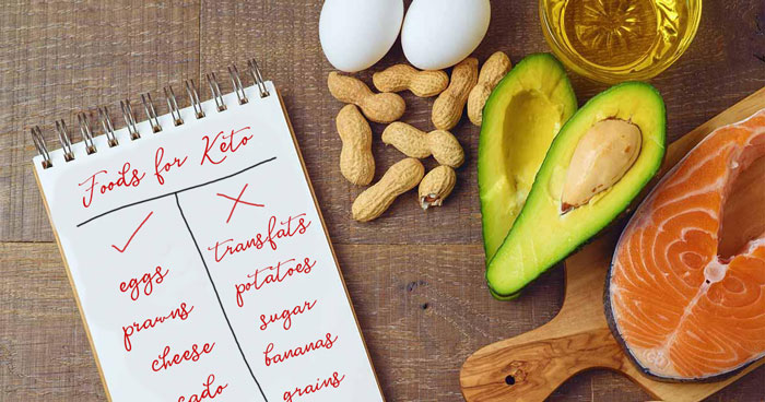 a picture of ketogenic friendly foods including salmon, avocado, peanuts, eggs and olive oil. contact nutritional therapist tracy tredoux for more information on this food plan