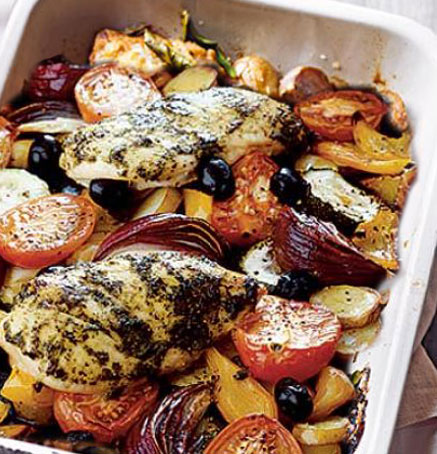 Tray-Baked chicken and veg