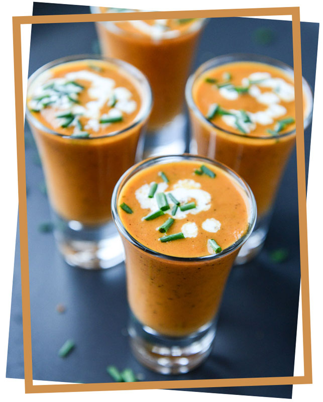 nutritious roasted tomato soup shots