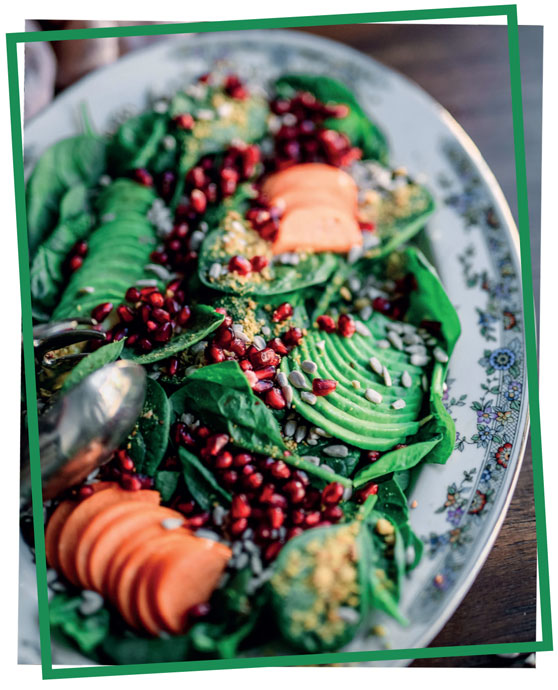 delicious and nutritious spinach, pomegranate and avocado salad
