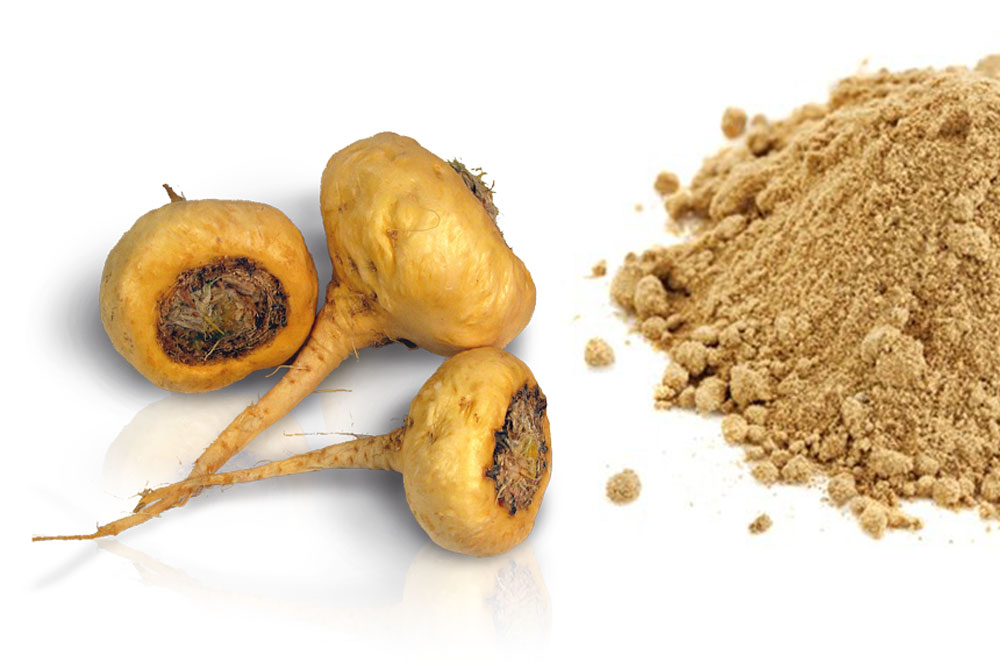 maca in it's natural form and as a powder