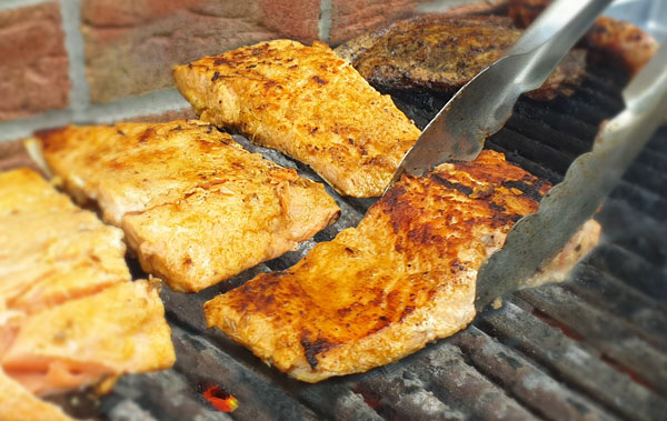 Delicious barbecued dijon salmon, perfect for a summer barbecue from London Nutritional Therapist Tracy Tredoux