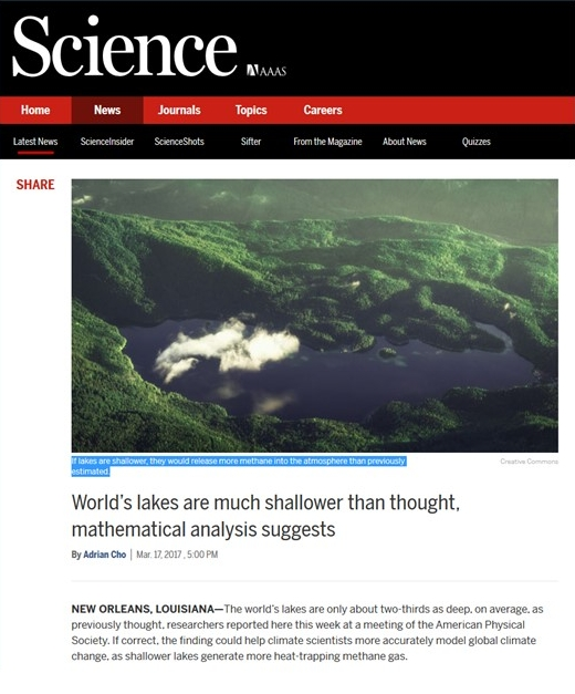 If lakes are shallower, they would release more methane into the atmosphere than previously estimated. Creative Commons