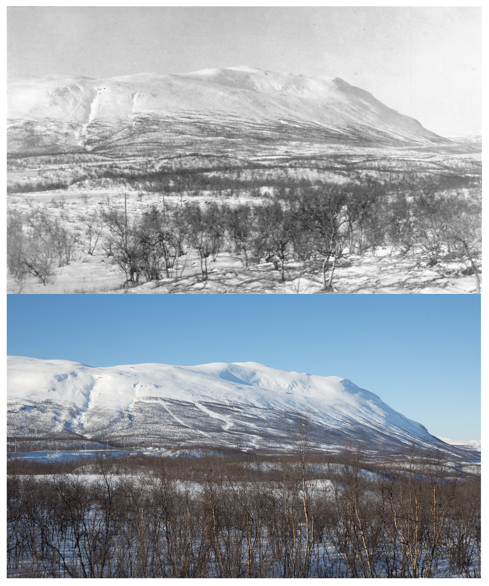 Nuolja 1925 and 2017, Photo by C.G. Alm and Oliver Wright