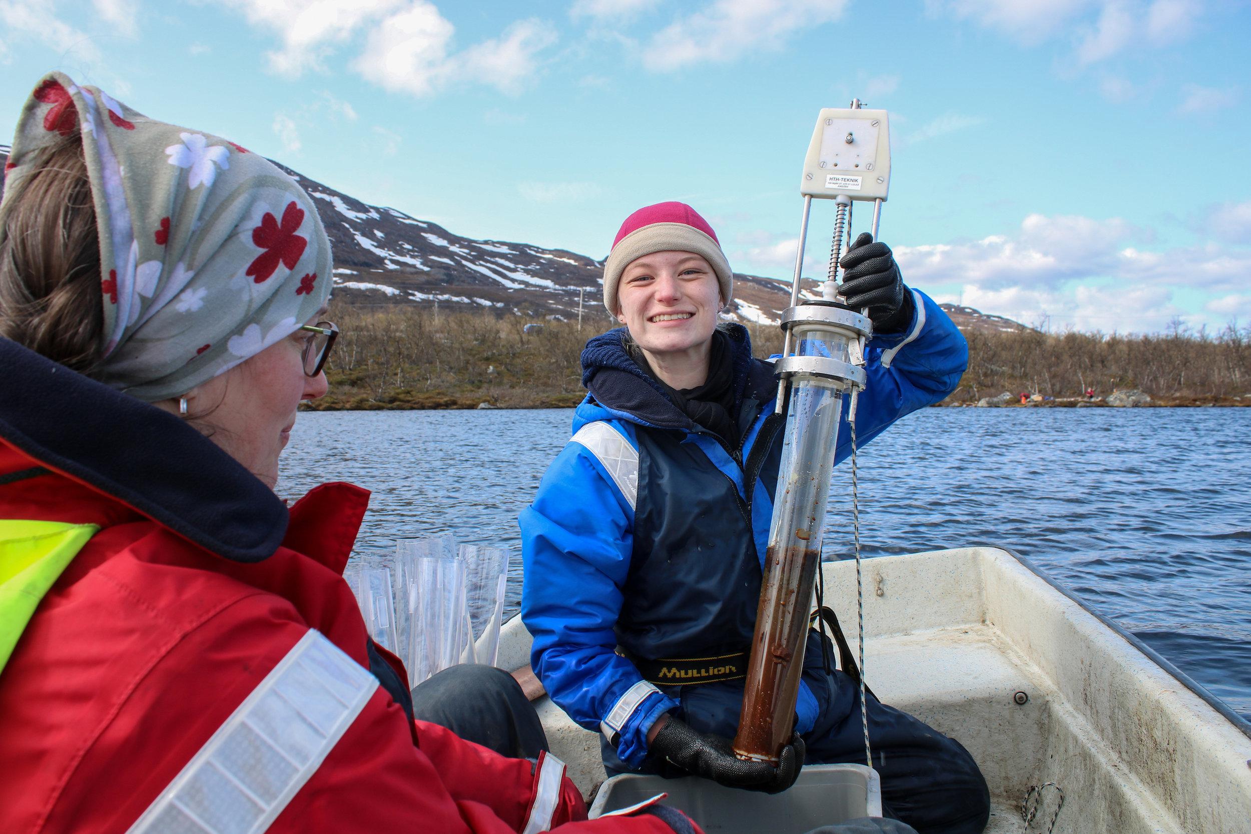 Hannah Beck and Jenny Ask Sediment Sampling Lake Almberga 03June19 Photo by Emma.jpg