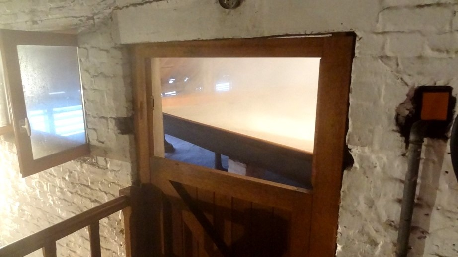 Hot wort pouring into Cantillon's coolship.