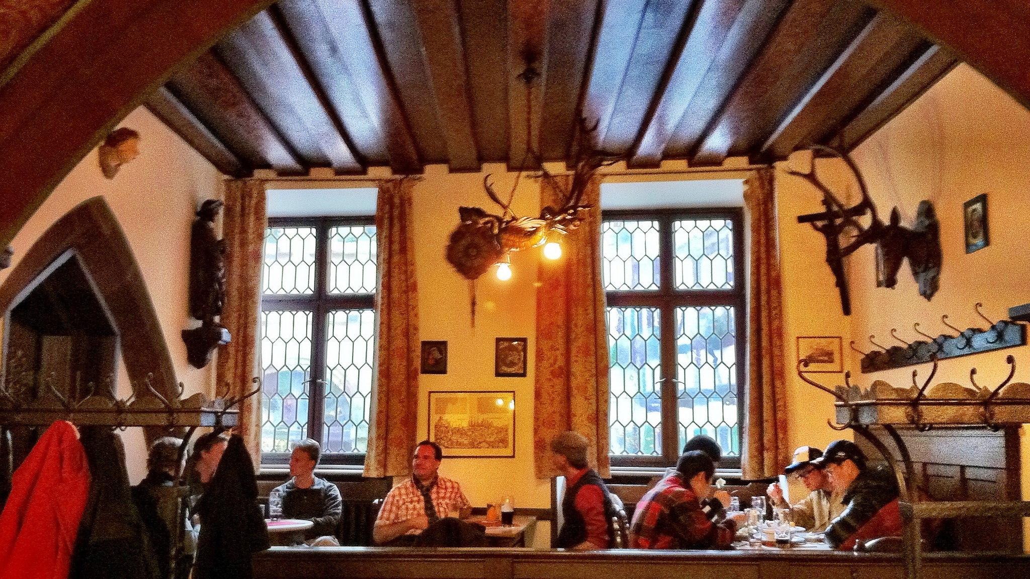 Schlenkerla's 600-year-old pub with oxblood-stained wood.