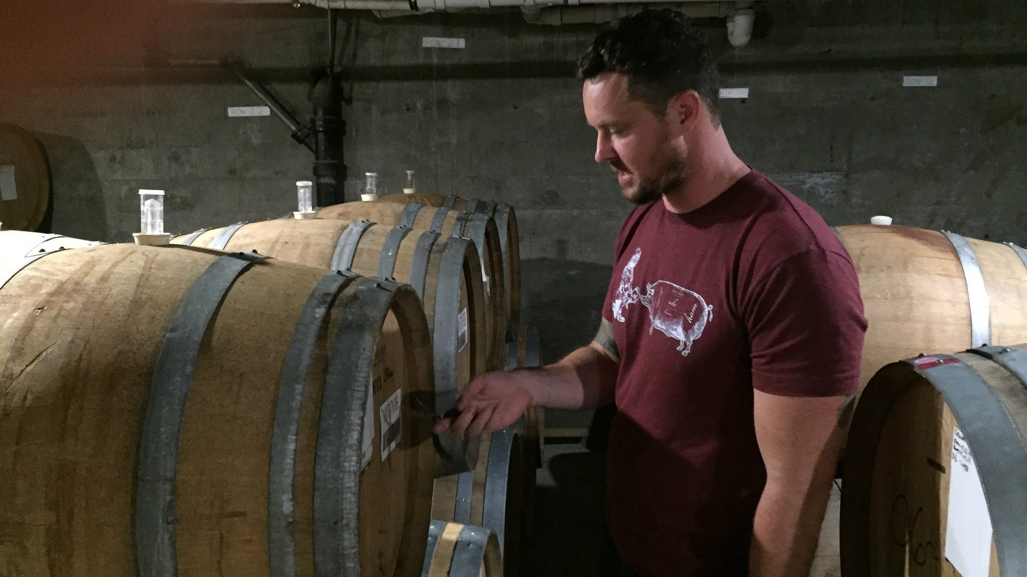 Block 15's Nick Arzner pulling some wild ale from the wood.