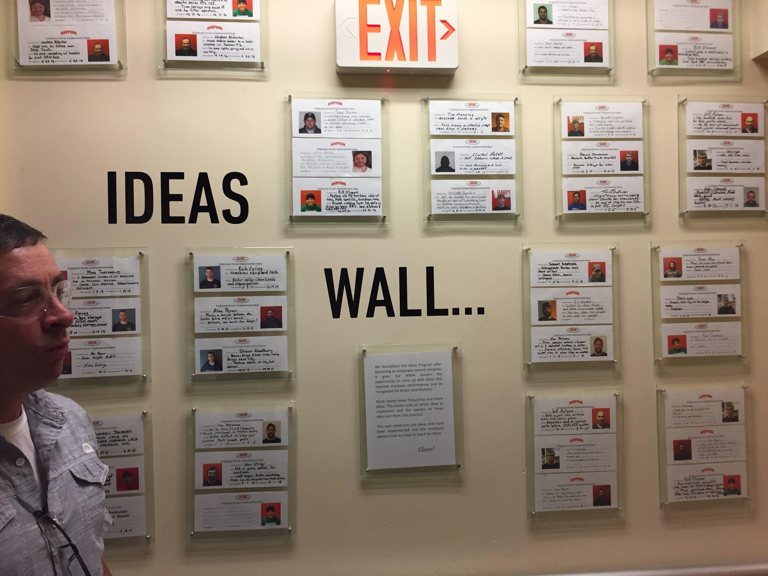 Employee idea wall.