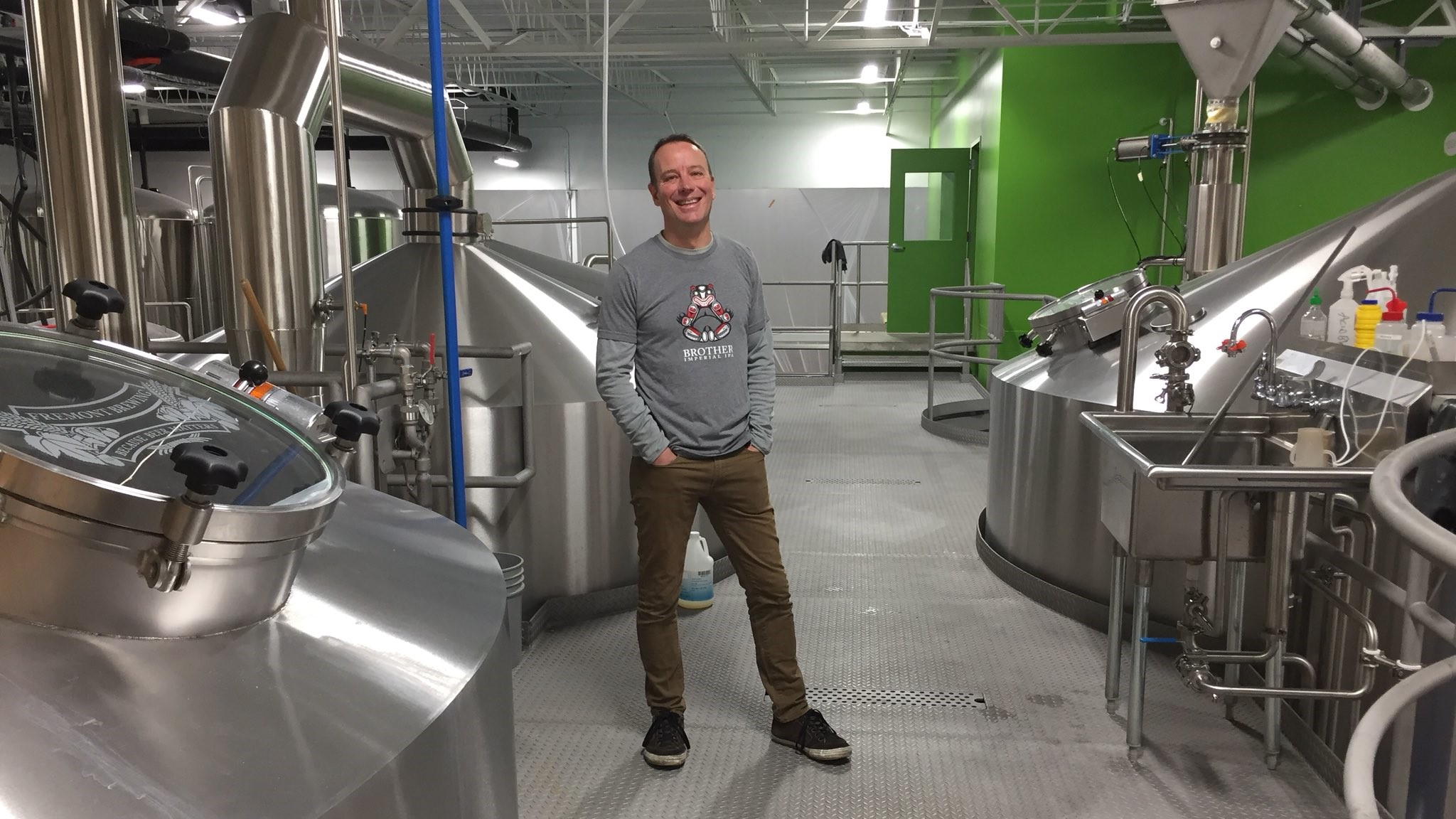 Matt Lincecum in Fremont Brewing's big new Huppmann brewhouse (Seattle).