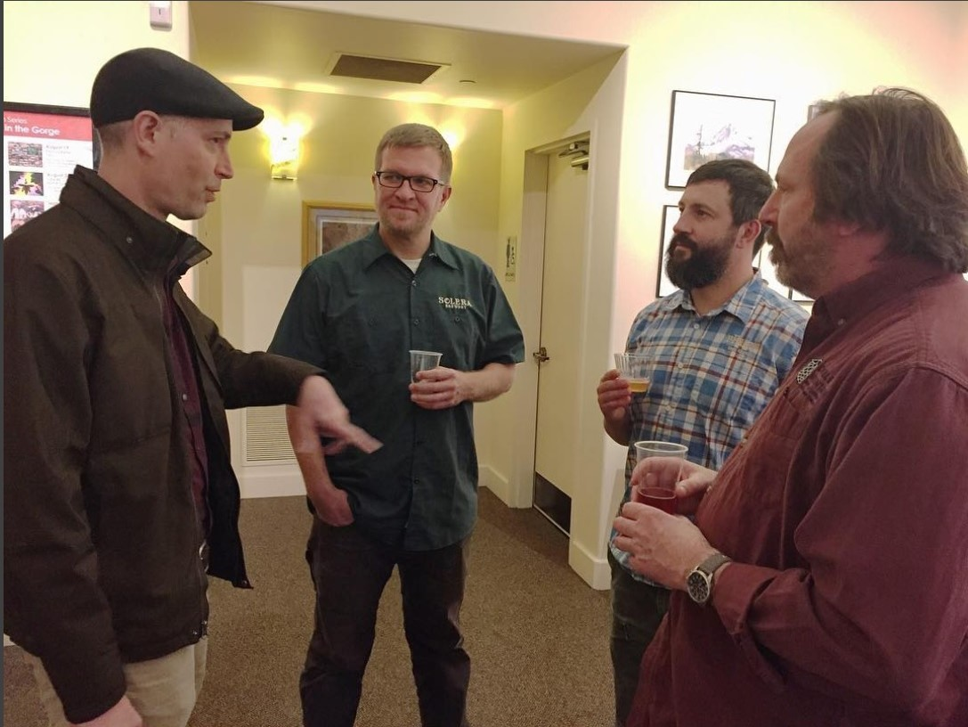 At the launch of  The Secrets of Master Brewers , with (l-r) me, Jason Kahler, Josh Pfriem (pFriem), and Matt Swihart (Double Mountain).